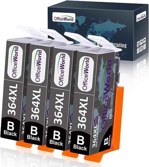 Imagen deOfficeWorld 364XL cartuchos Reemplazo para HP 364 XL cartuchos de tinta Compatible para HP Photosmart 5520 7510 5510 7520 5522 5524, HP Officejet 4620 4622, HP Deskjet 3520 3070A 4 Negro