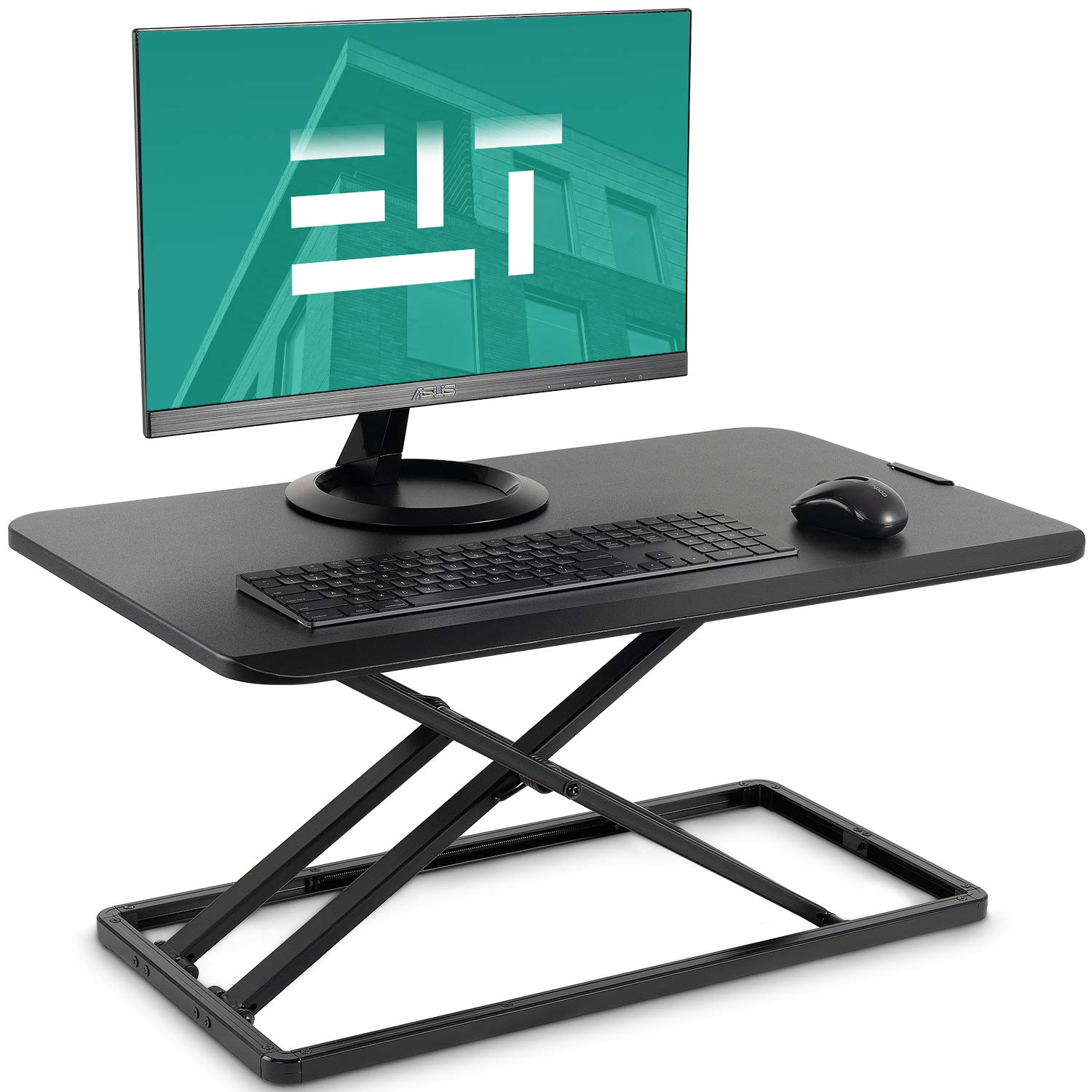 EleTab Standing Desk Converter Sit to Stand up Desk Riser Ultra Slim Desktop Elevating Workstation 29 inches (Black) by EleTab