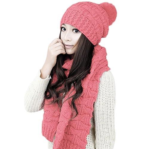 MTTROLI - Set de bufanda, gorro y guantes - para mujer Rosa rosa Talla única