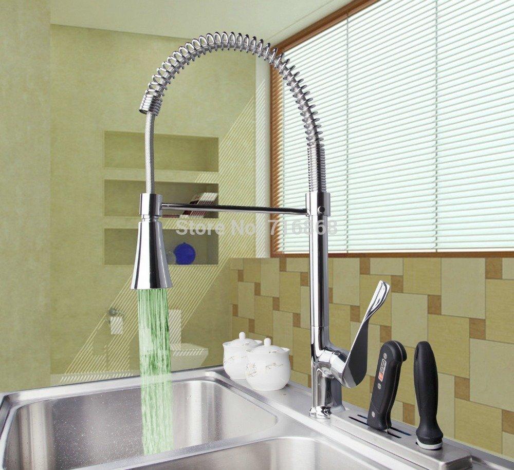 5151buyworld Top Qualität Wasserhahn Hot & Cold chrom Gerät LED Deck Mount doppelte Griffe Wash Waschbecken Schiff Küche Einhebelmischer-faucetfor Badezimmer Küche Home Gaden (begriffsklärung)