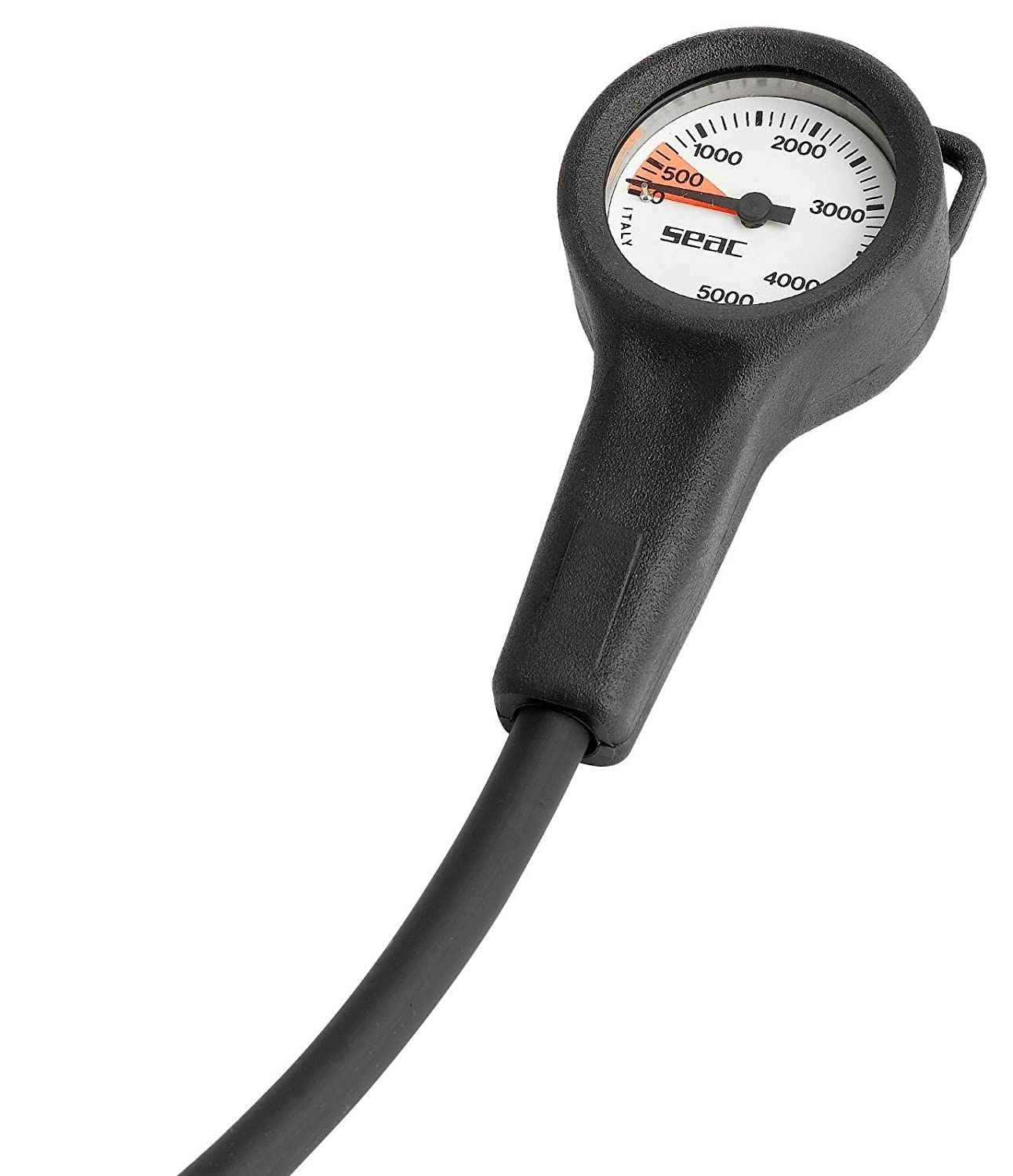 Seac Scuba Analog SPG Pressure or Depth Gauge Console with Brass Housing /& Hose Imperial Black One Gauge Console 2270//B