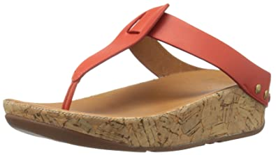 d21e43b8c FitFlop Women s Ibiza Cork Leather Toe-Thong Sandals Flip Flop Flame 6 ...