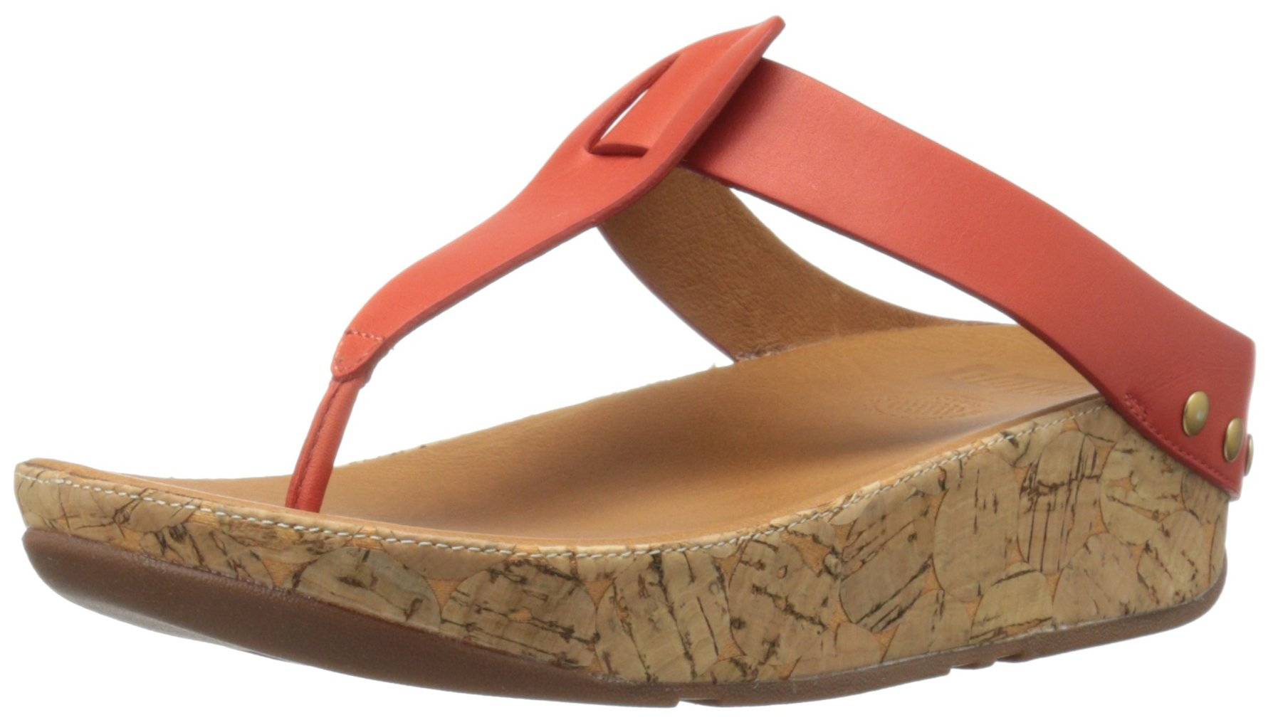 FitFlop Women's Ibiza Cork Leather Toe-Thong Sandals Flip Flop, Flame, 5 M US