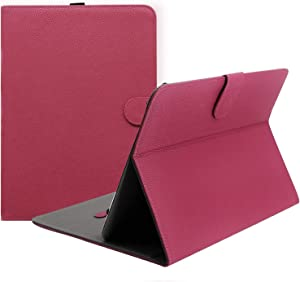 "ProCase Universal Folio Case for 9-10 inch Tablet, Leather Stand Protective Case Cover for 9"" 10.1"" Touchscreen Tablet with Multi-Angle Stand (Magenta)"