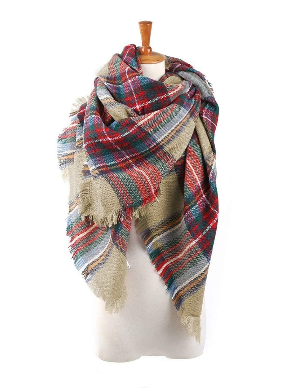 Zando Fall Winter Scarf Tassel Plaid Scarves For Women Warm Tartan Wrap Shawl