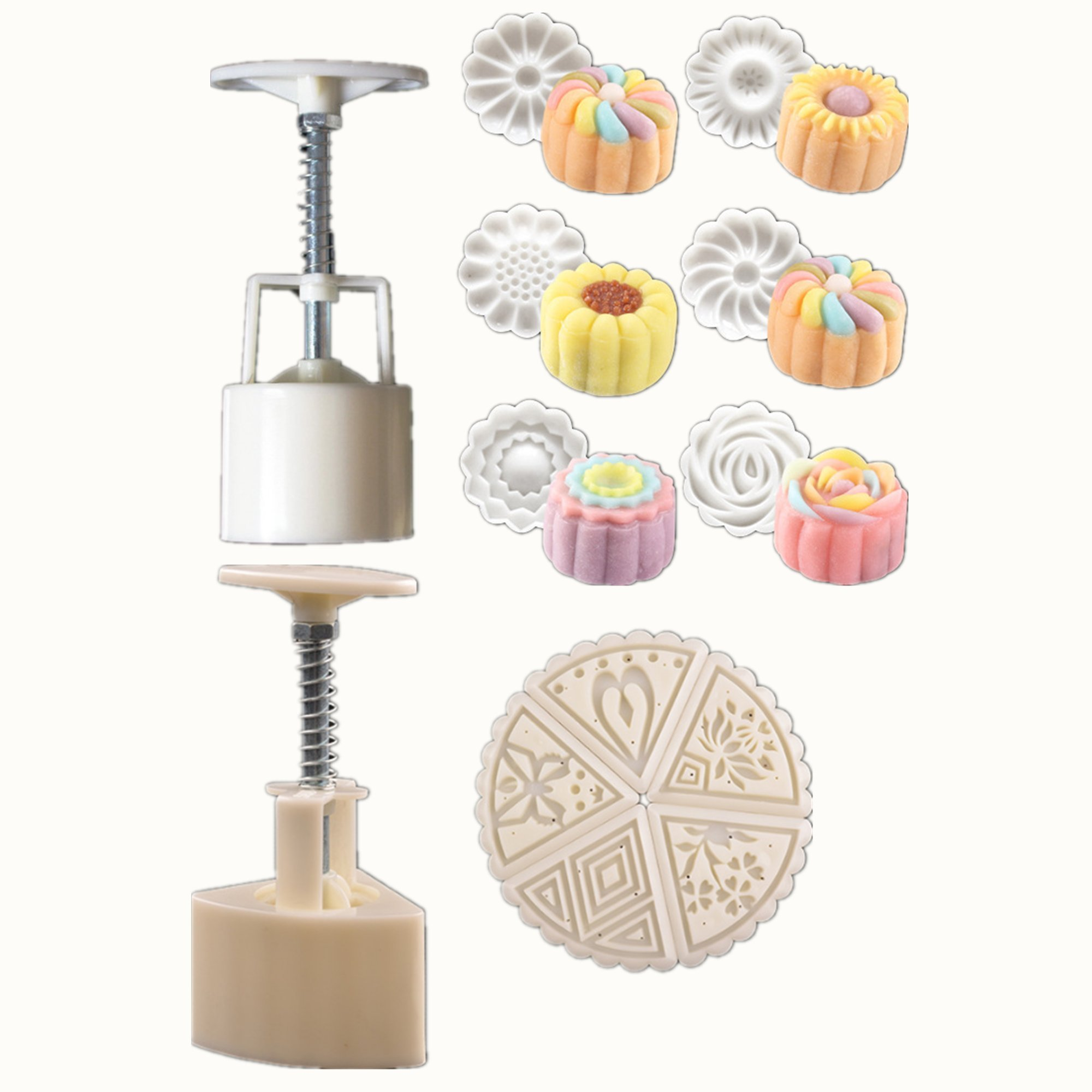Mooncake Mold Press-2 set cake mold press 50g with 11 Stamps Flower and Triangle Shape Decoration Tools for Baking DIY Cookie (White)