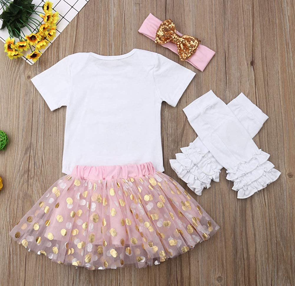 5PCS Baby Girl Fathers Day Outfit Set Short Sleeve Romper and Polka Dot Tutu Skirt and Heart Leg Warmers and Headband
