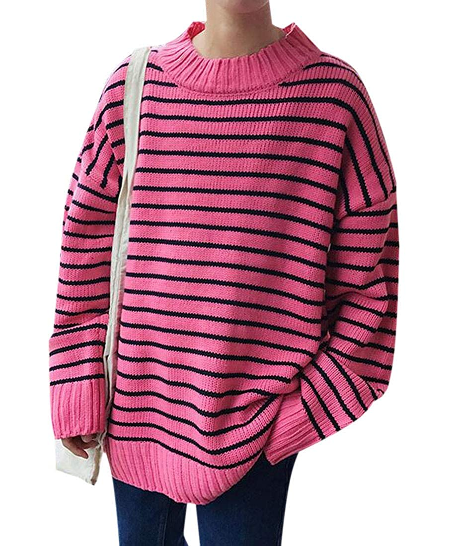 BU2H Men Casual Loose Long Sleeve Stripe Round Neck Knit Pullover Sweater