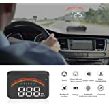 iKiKin Car HUD with GPS OBD2 Dual Interfaces Head Up Display Universal Digital Speedometer KMH/MPH Windshield Car…