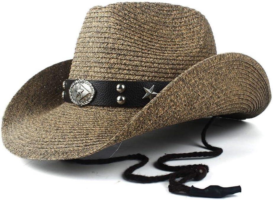 Para señoras sombreros Sombrero de vaquero Westerly Jazz de los nuevos hombres y caballero de piel Shuck Sombrero Sombrero de las señoras del punk Bull Band ( Color : Coffee , Size : 56-58 )