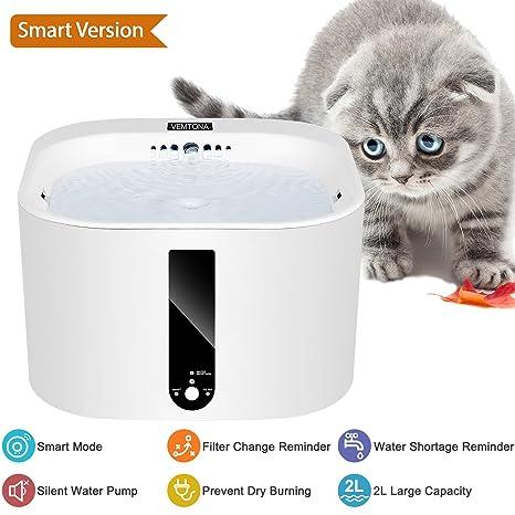 VEMTONA Bebedero Automático Dispensador Inteligente Fuente de Agua Ultra Silencioso para Mascotas Gatos Perros Pájaros 2L