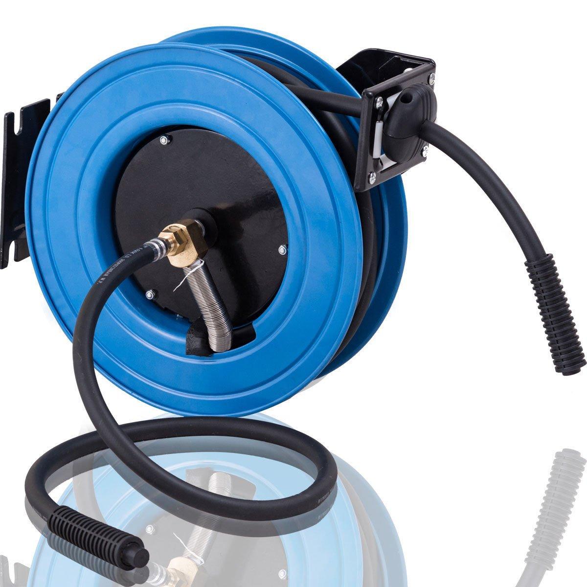 Goplus Retractable Auto Air Hose Reel Metal Construction w/ Lock Mechanism, 3/8 in, Hybrid Hose, 300PSI