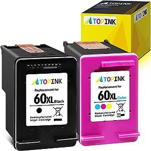 ATOPINK Remanufactured Ink Cartridge Replacement for HP 60XL 60 XL Fit in PhotoSmart C4700 C4600 D110a C4795 C4750 C4680 Envy 100 114 120 110 111 DeskJet F4235 F4580 F4400 F2430 (1 Black, 1 Tri-Color)