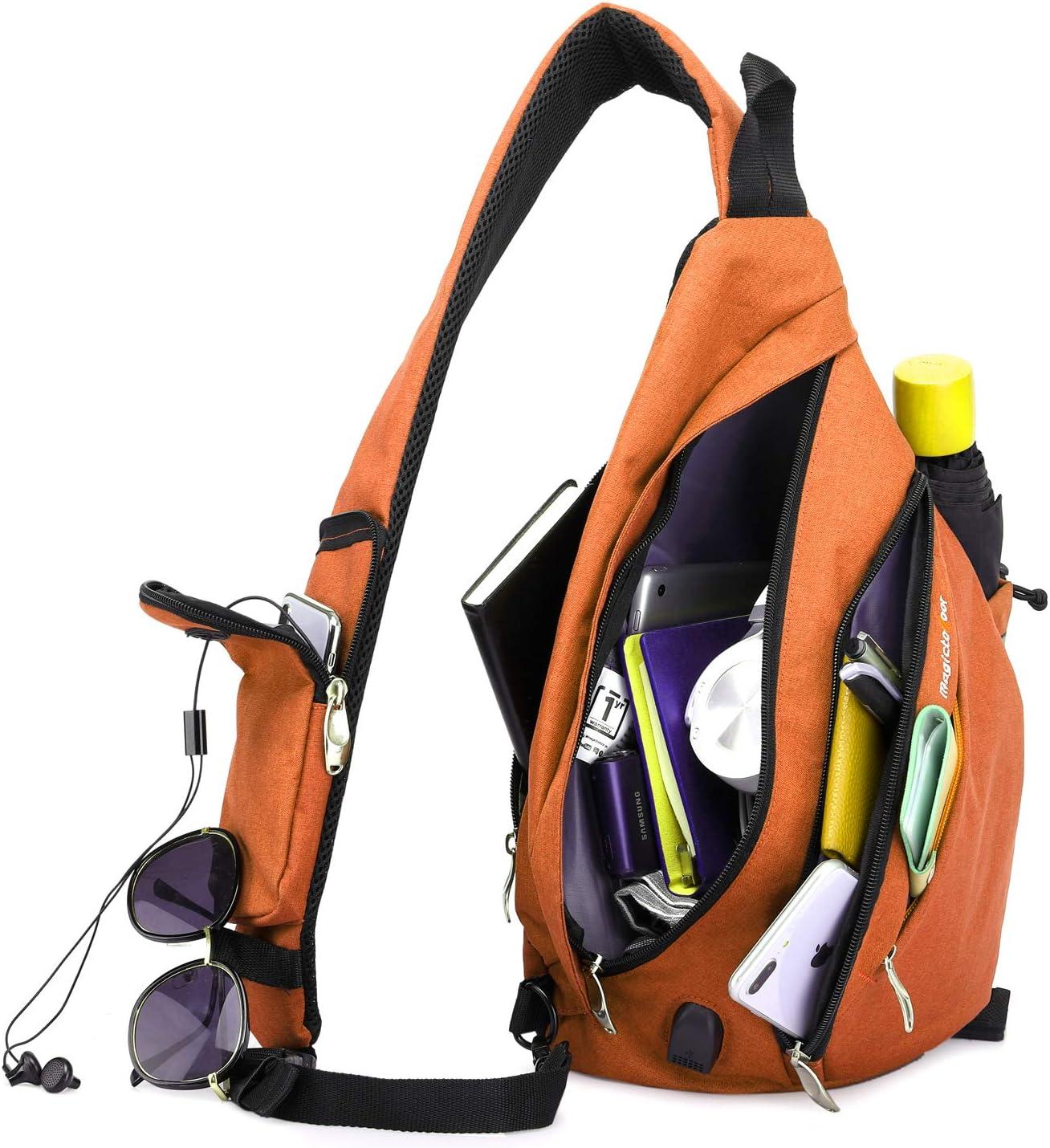 Sling Bag Travel Backpack Wear Over Shoulder or Crossbody Reflection Straps for Hiking,Cycling