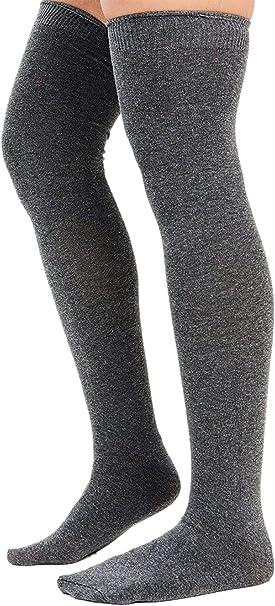 Women/'s Plain Cotton Thigh High Over Knee Socks