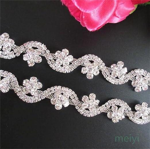 Diamante//Rhinestone Crystal Trim Lace various colours 2cm width approx Free P/&P