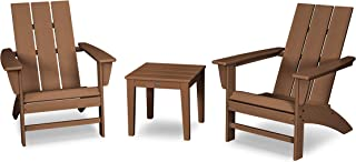 product image for POLYWOOD Modern 3-Piece Adirondack Chair Set with End Table