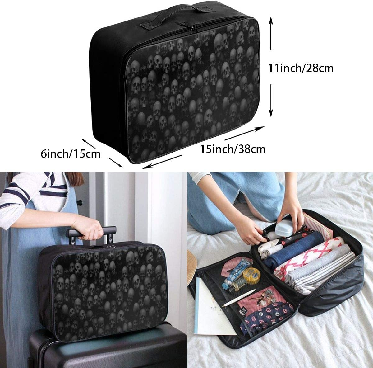 Black Skull Head Travel Duffel Bag Waterproof Fashion Lightweight Large Capacity Portable Luggage Bag