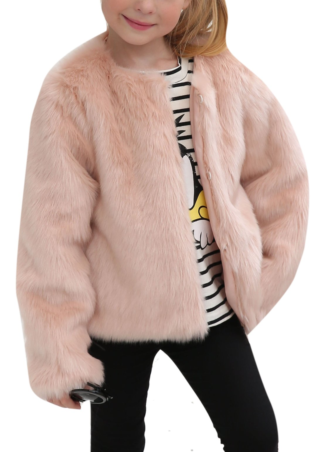 Girls Winter Warm Faux Fur Rabbit Fake Short Long Sleeve Coat Little Kids Outerwear 4-5 Years Light Pink