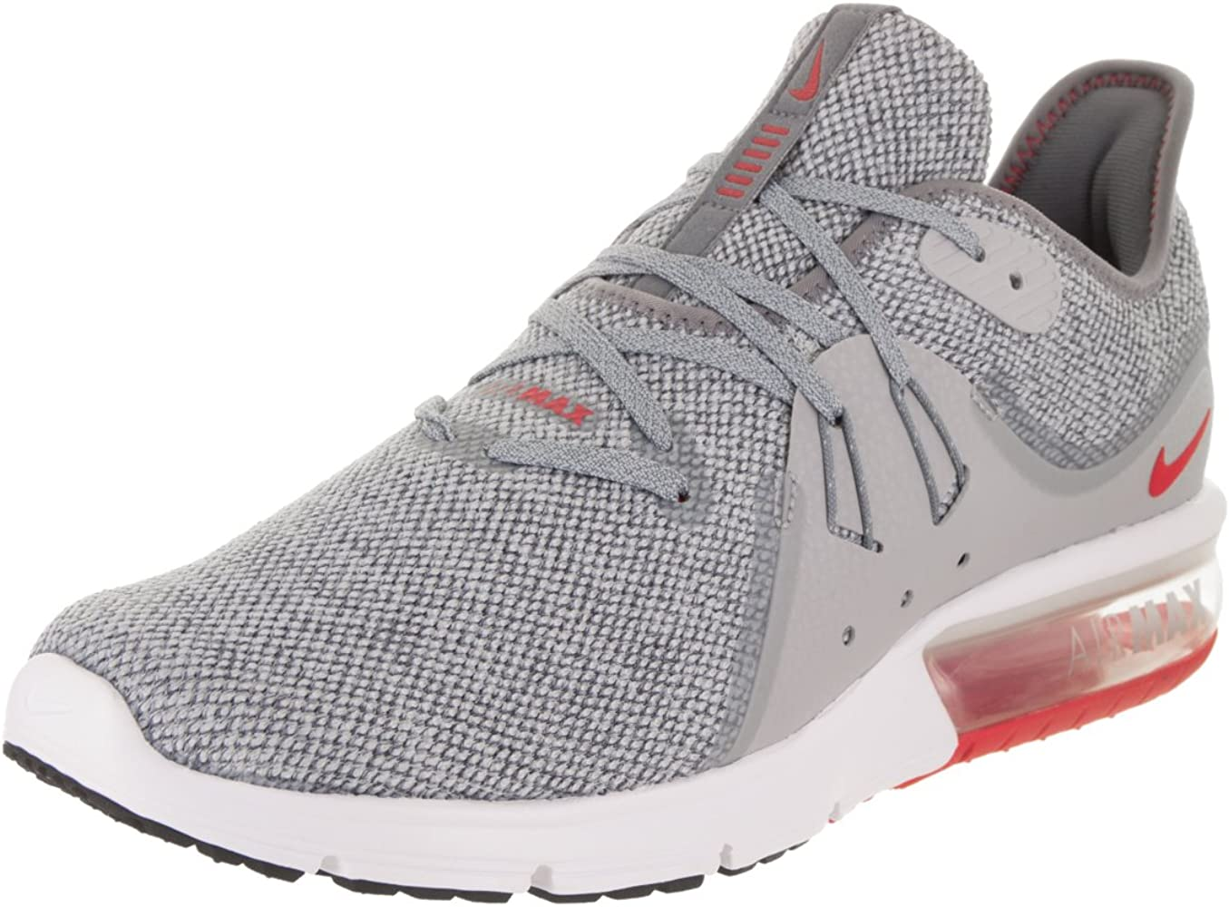 Men's Air Max Sequent 3 Running Shoes Cool GreyUniversity Red 7.5