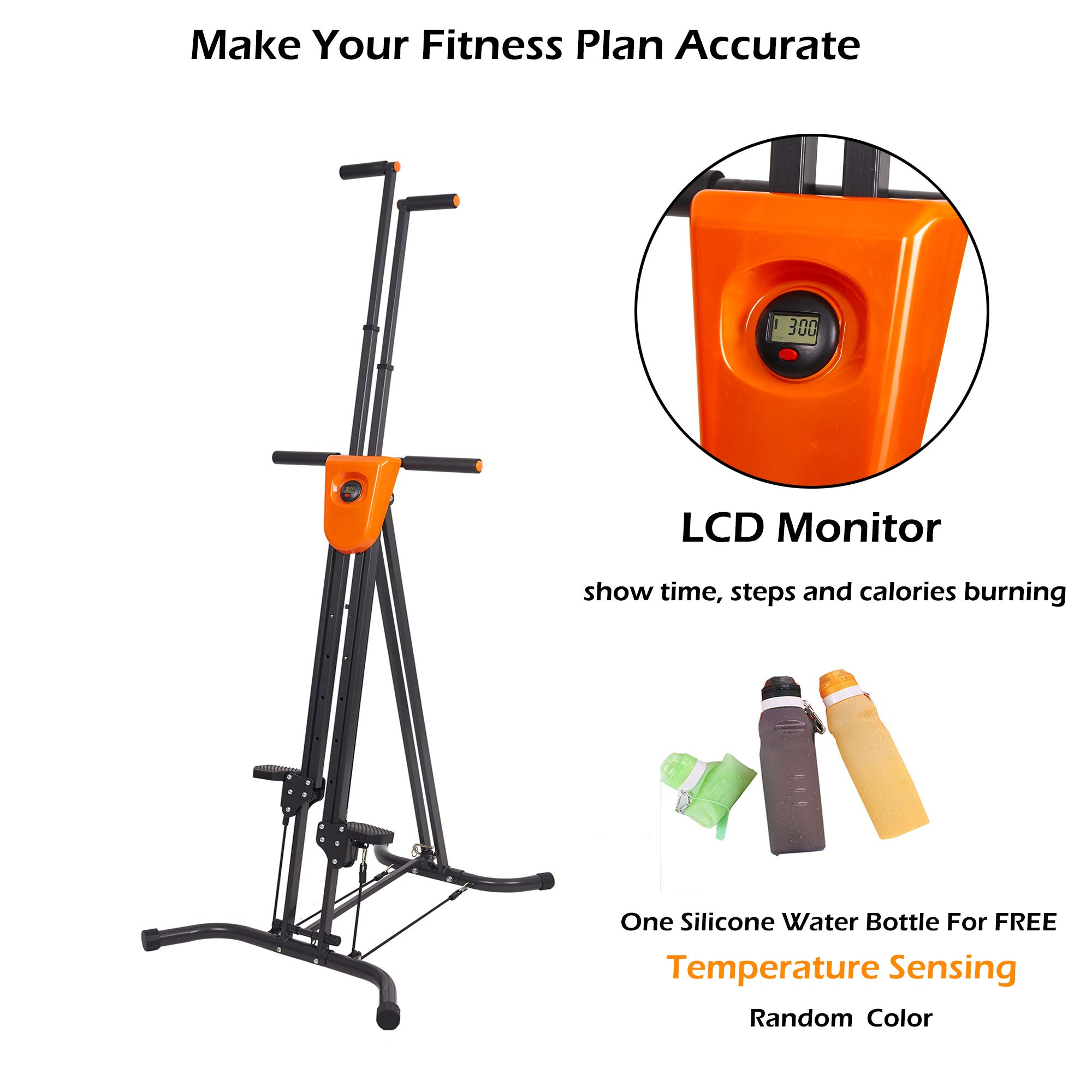 Lucky Tree Stair Climber Exercise Machine Vertical Climber Stairs Gym Home Fitness Folding Stair Stepper Adjustable Height for Women Man Full Total Body Workout by Lucky Tree (Image #2)