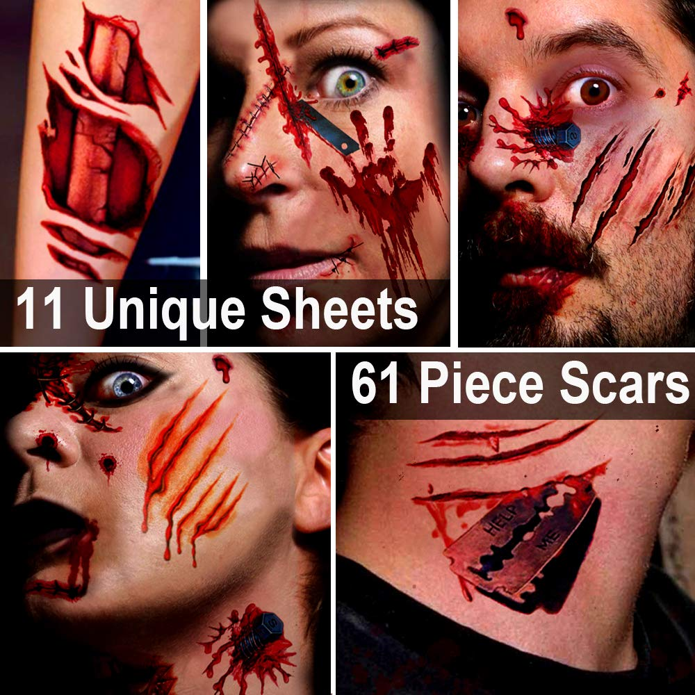 Zombie Makeup,Halloween Makeup,11 Unique Sheets,Fake Blood,Scar Tattoo,Halloween Tattoos Fake Blood Makeup Vampire Makeup, Enjoy Halloween Makeup Kit Zombie Tattoos,11 Sheets,61 Pics Fake Scars Cuts