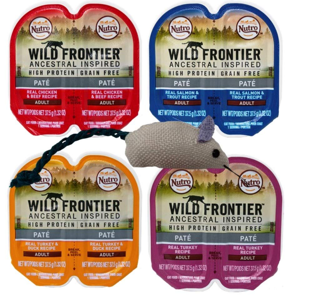 Noctro Wild Frontier Grain Free Pate Cat Food 4 Flavor 8 Can Variety with Toy Bundle, (2) Ognuna:  cken Beef, Salmon Trout, Tur a, Tur a Duck 1.32 Ouces