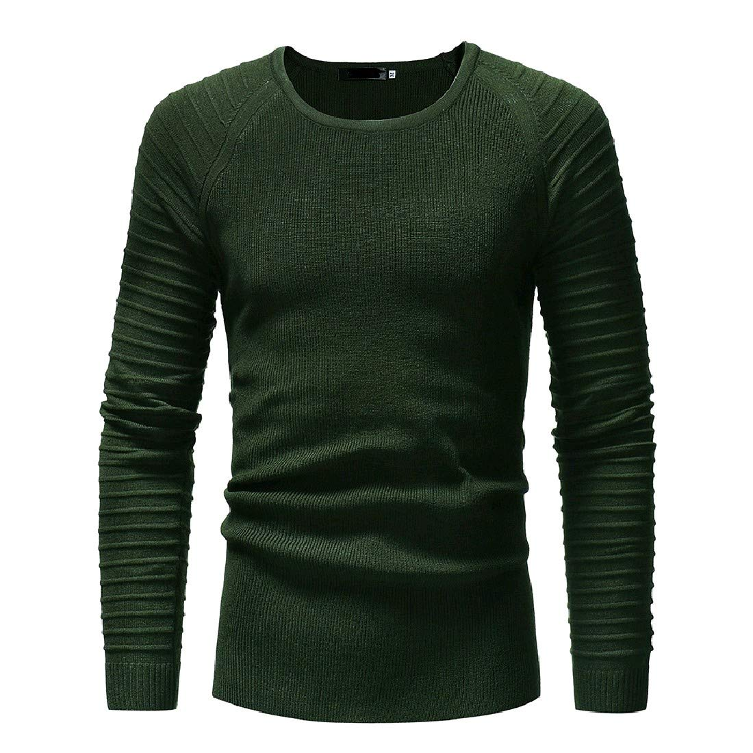 YUNY Men Folding Sleeve Skinny Oversize Scoop Pullovers Sweater Army Green S