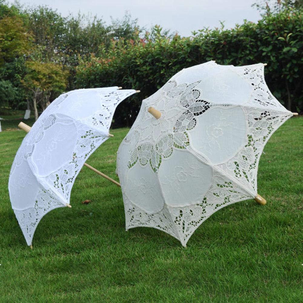 parapluies de Demoiselle dhonneur Wovemster Parasol de Mariage en Dentelle Blanche poign/ée en Bois /évider Parapluie de Dentelle Accessoires de Photographie