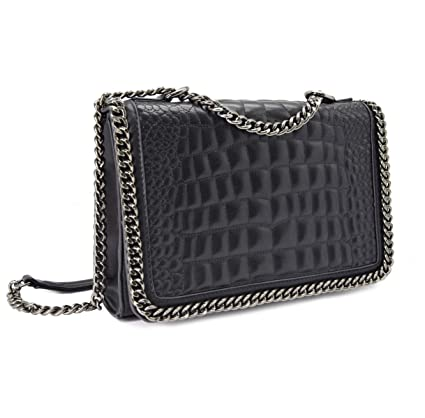 146487a17c CRAZYCHIC - Women s Chain Crossbody Bag - Quilted Shoulder Handbag  Crocodile Pattern PU Leather - Croco