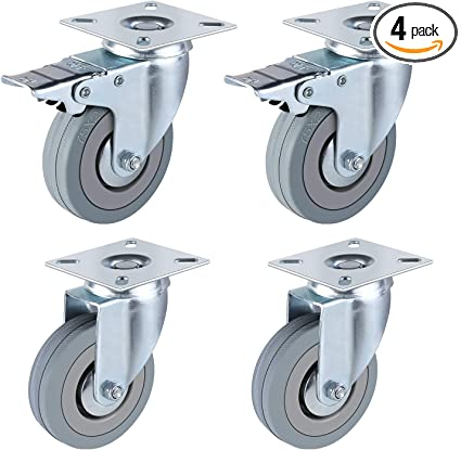 DONG60q 4PCS 3 Inch Polyurethane Casters Flat Trolley Universal Wheel Office Furniture Industrial Wheel Heavy Duty Wearable Mute Wheel with Brake Steering Wheel Color : C