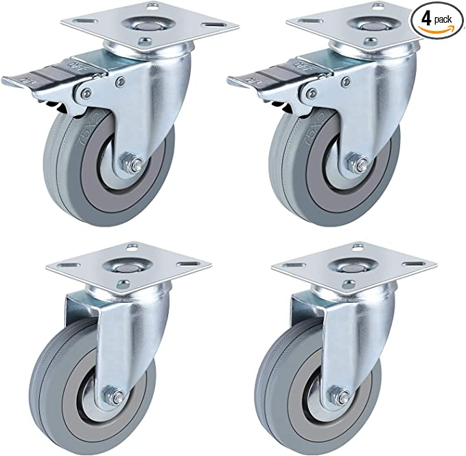 Yardwe 4pcs Adhesive Caster Wheels Non Swivel Casters Top Plate Swivel Wheels for Furniture Storage Box Baby Toys Car Bin