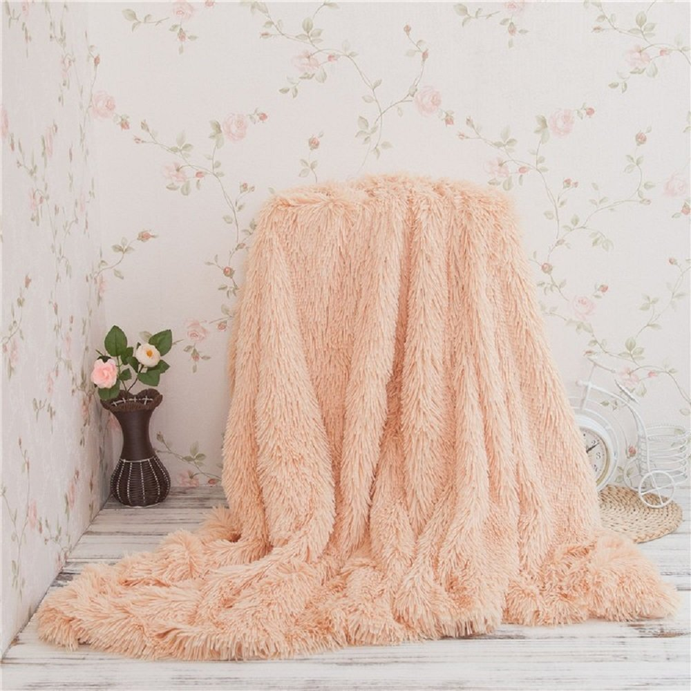 Battilo Super Soft Shaggy Faux Fur Long Hair Throw Blanket Cozy Elegant Decorative Blanket