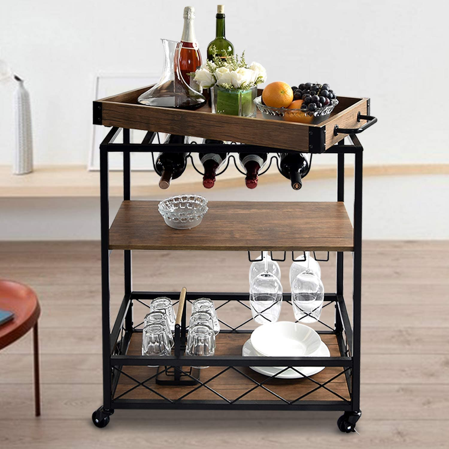 NSdirect Home Bar Cart,Rustic Bar Cabinet Kitchen Island&Serving Cart Rolling Storage Cart with 3-Tier Shelves,Metal Wine Rack Storage and Glass Bottle Holder,Removable Wood Top Box Container(Brown)