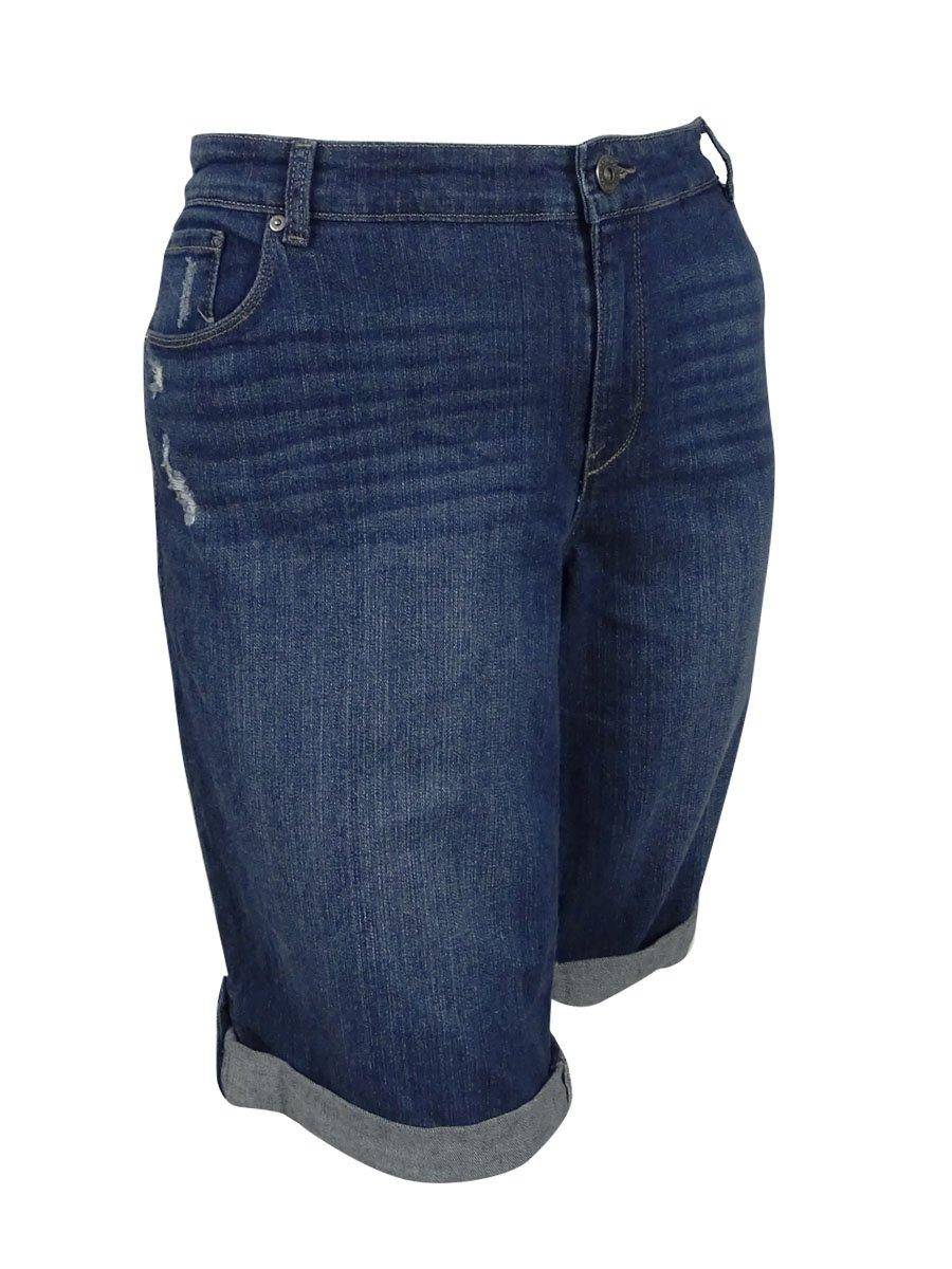 Style & Co. Plus Size Distressed Normandy Wash Denim Bermuda Shorts (20W, Normandy)