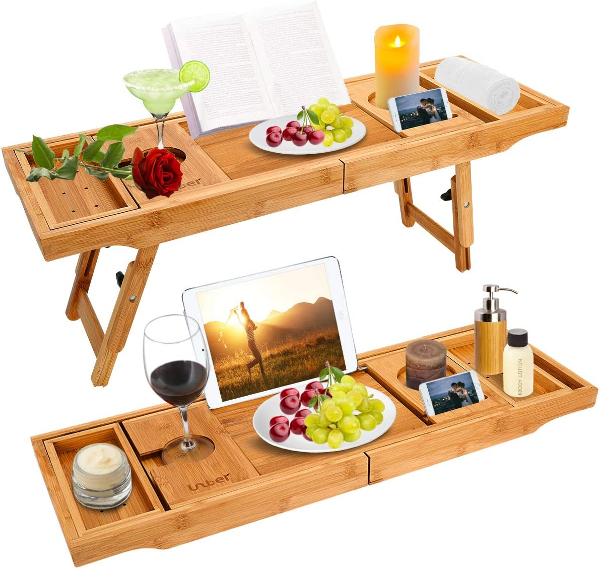 Bathtub Caddy Tray Bath Table with Extending Sides, Bamboo Bath Tub Trays Tablet with Wine and Book Holder , Cell phone Tray and Wine Glass Holder