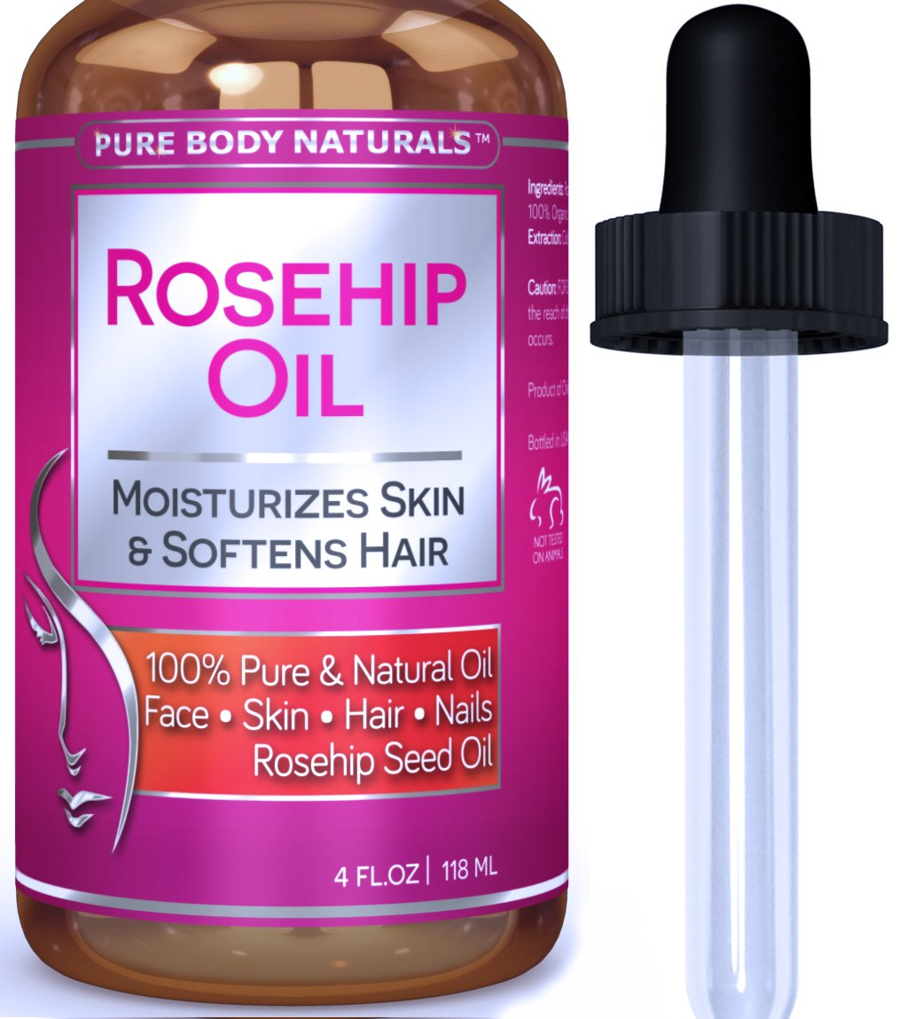 Rosehip Seed Oil for Face, Nails, Hair Or Skin by Pure Body Naturals, 4 Fl. Ounce