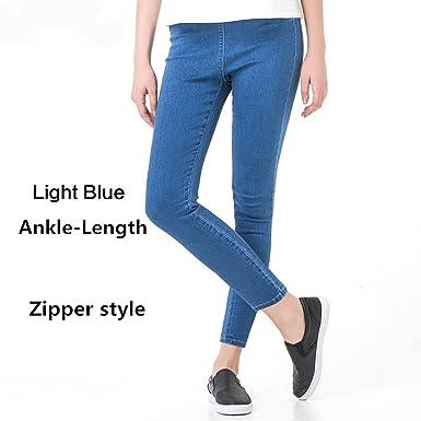 28d5e96bafc Chiffoned Plus Size Casual Women Jeans Pant Slim Stretch Cotton Denim  Trousers for Women Blue 4XL