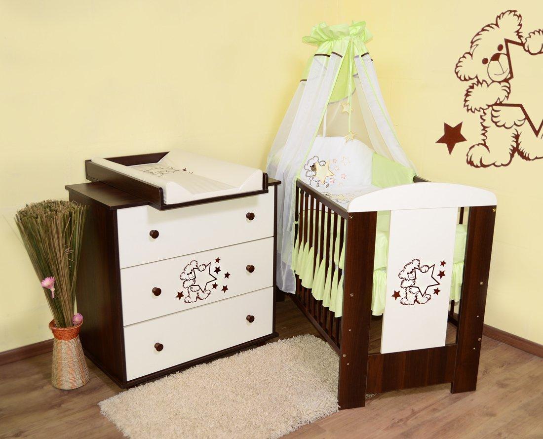 Babyzimmer Teddybär sparset incl. Babybett , Wickelkommode , Ausstattung - Komplettset (grün)