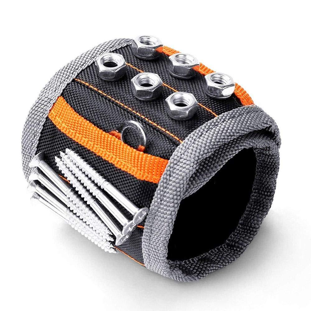 AOLVO Portable magné tique Bracelet Noir, Lot de 15 Aimant magné tique Outil Clip Ceinture Mé nage Bracelet magné tique Outil Support pour Artisans É tablis de Charpentier Builders