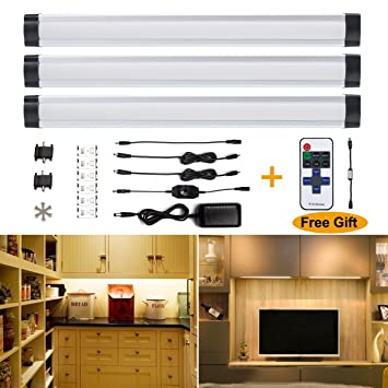 Su0026G LED Under Cabinet Light Ultra Thin Under Counter Lighting Dimmable 3pcs  Puck Lights For Closet