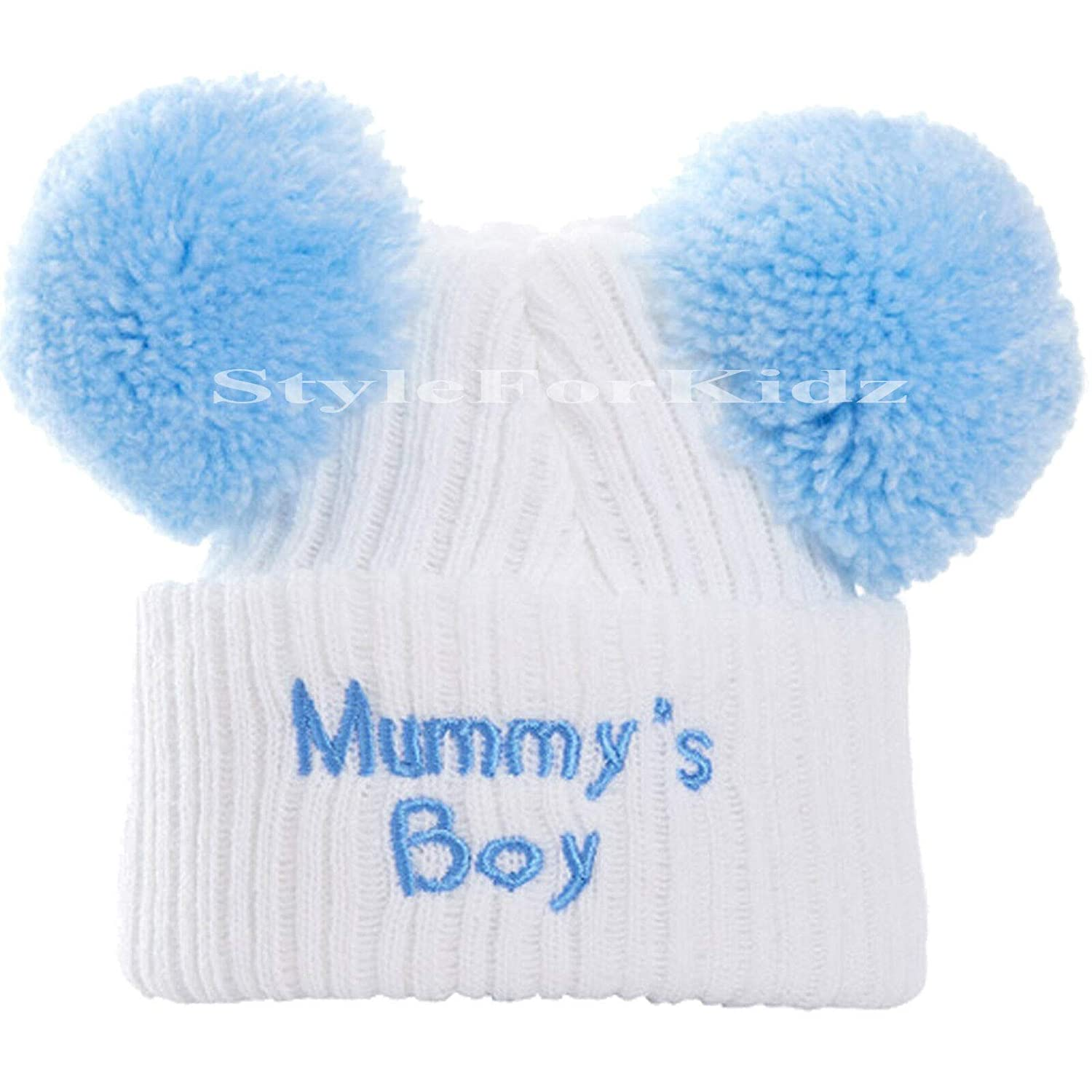 British Made Cute Decorative White Blue Pom Pom Mummys//Daddys Baby Boy Frilly Knitted Hats