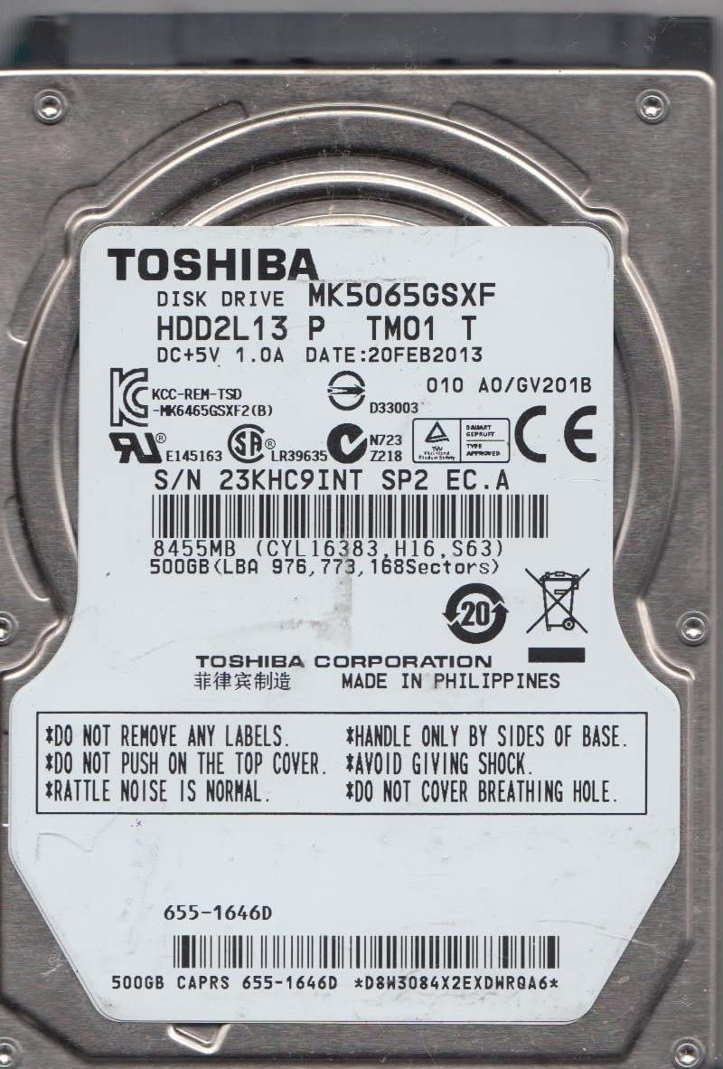 -Toshiba MK5065GSXF 500 GB SATA 2.5-inch Internal Hard Drive - 5400 RPM. Drive Only.