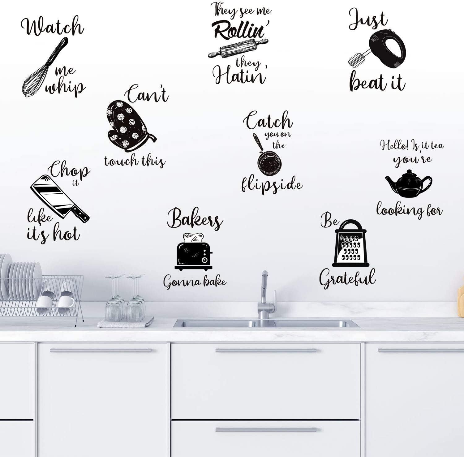 Kitchen Quotes Wall Stickers Kitchen Lettering Wall Decal Kitchenware with Sayings Wall Decoration for Kitchen Dining Baking Room Restaurant