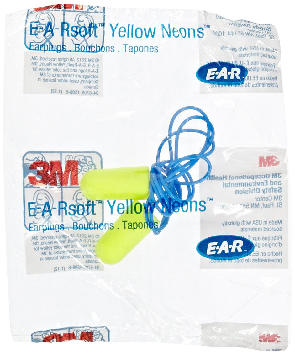 3M E-A-Rsoft Neons Tapered Foam and PVC Corded Earplug, Yellow (Pack of 200) by 3M   B00AEFAYN4