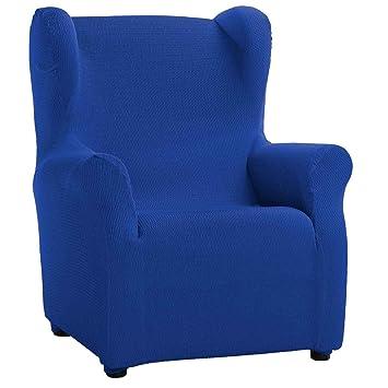 Funda de Sillón Orejero Elástica Modelo Libia, Color Azul Eléctrico, Medida 80cm de ancho