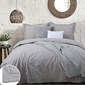 YINFUNG Taupe Duvet Cover Queen Washed Cotton Greige Percale Neutral Border Natural Gray 3PC Duvet Cover Set Brown 90x90 Flange 100 Cotton Quilt Cover Stitch Down Comforter Cover Bedding Set Wrinkle