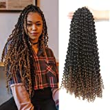 7 Packs Passion Twist Hair 18 Inch Water Wave Synthetic Braids for Passion Twist Crochet Braiding Hair Goddess Locs Long…