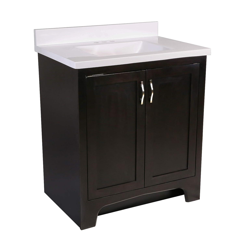 Espresso Unassembled Design House 592667 Ventura 2-Door Cultured Marble Single Hole Solid White Vanity Top 31x22