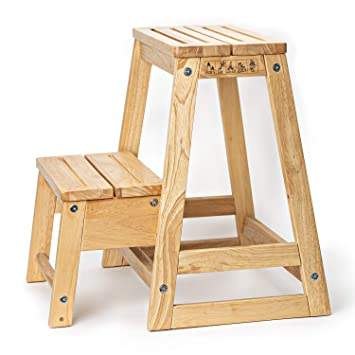 Deliano Design Fusstritt Massiv Holz Stabiler Klapphocker